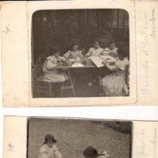 Fotografía antigua: BARCELONA - 2 FOTOGRAFÍAS DE ESCUELAS AL AIRE LIBRE - AÑOS 1910. Lote 154929894