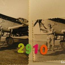 Fotografía antigua: FOTO FOTOGRAFIA MELILLA MILITAR JUNTO A UN AVIONETA AÑOS 40 - 50 . Lote 155030226