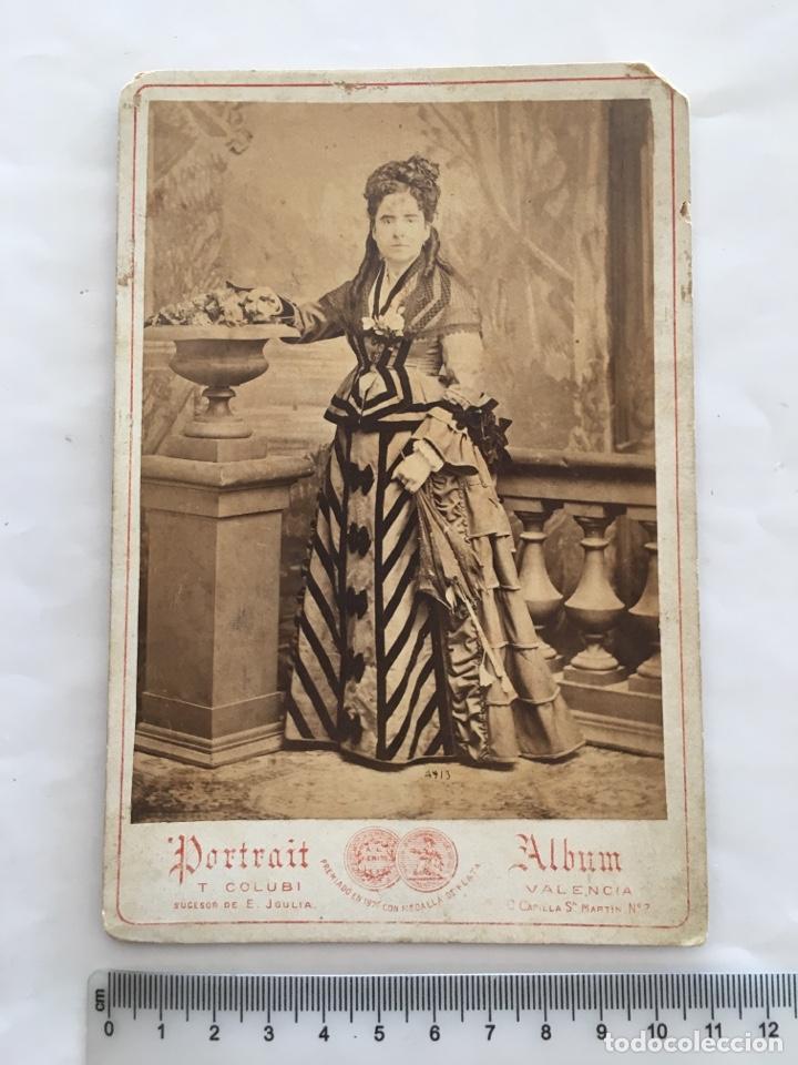 FOTO ALBUMINA. SEÑORITA. PORTRAIT ÁLBUM T. COLUBI. VALENCIA. H. 1890? (Fotografía - Artística)