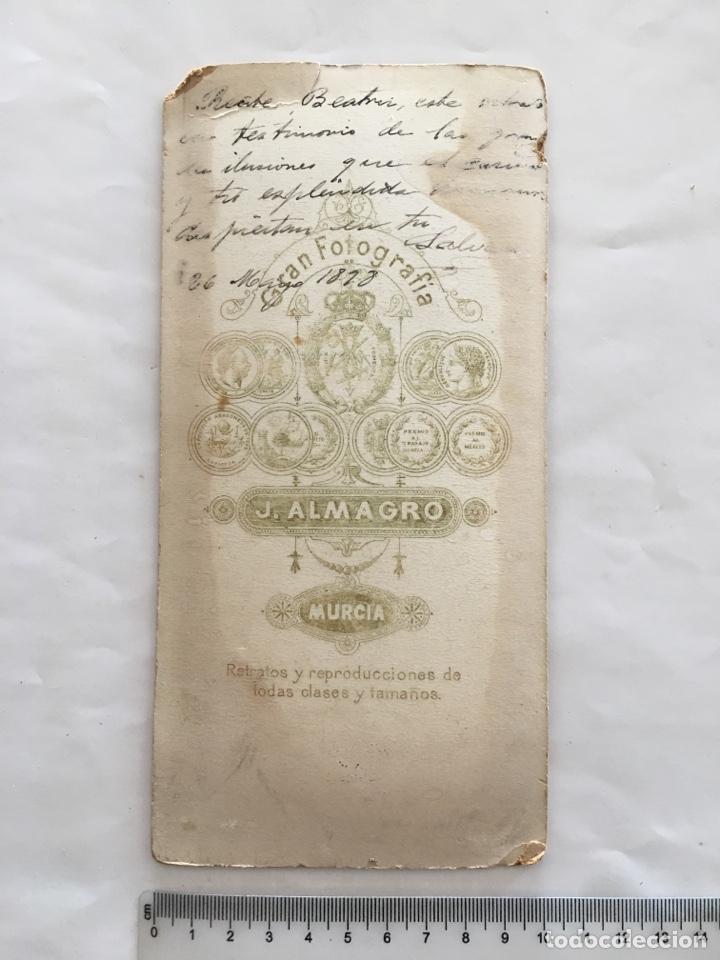 Fotografía antigua: FOTO ALBUMINA. SALVADOR. FOTOG. J. ALMAGRO. MURCIA. H. 1890. - Foto 2 - 156818702