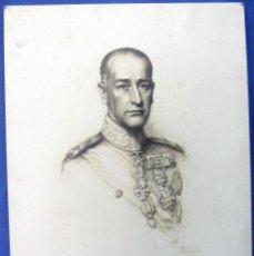 Fotografía antigua: FOTOGRAFÍA DEL RETRATO A LÁPIZ O CARBÓN, DE UN GENERAL DE BRIGADA ARGENTINO - DEDICATORIA Y FIRMA.. Lote 156819466