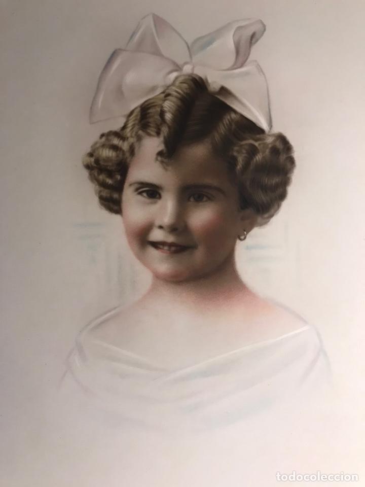 NIÑOS. RETRATO INFANTIL DE NIÑA CON LAZO. IMAGEN COLOREADA (H.1920?) (Fotografía - Artística)