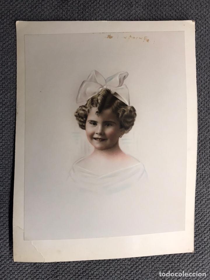 Fotografía antigua: NIÑOS. Retrato Infantil de Niña con Lazo. Imagen coloreada (h.1920?) - Foto 2 - 156909426