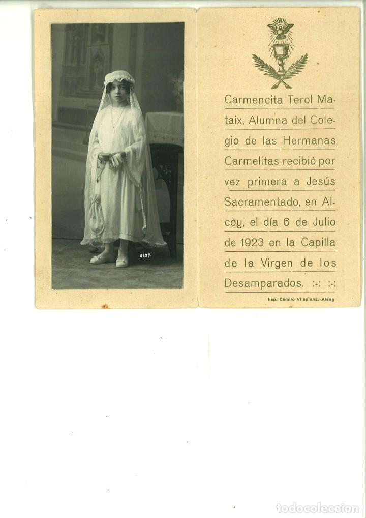 RECORDATORIO DE COMUNIÓN CON FOTO DE CARMENCITA TEROL EN ALCOY. (Fotografía - Artística)