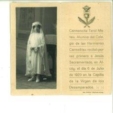 Fotografía antigua: RECORDATORIO DE COMUNIÓN CON FOTO DE CARMENCITA TEROL EN ALCOY.. Lote 162952182