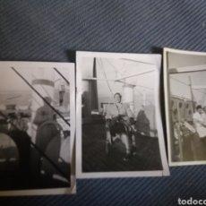Fotografía antigua: 3 FOTOS SEÑORAS CUBIERTA BARCO MERCANTE TURISMO MODA 8,5 X 6 CM ESPAÑOLAS AÑOS 40. Lote 168454508