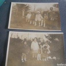 Fotografía antigua: 3 POSTALES FOTOGRAFICAS FAMILIA 5 NIÑAS VESTIDOS MODA CAMPO PARQUE C.1910. Lote 168490660