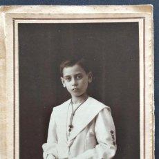 Fotografía antigua: FOTOGRAFÍA NIÑO DE COMUNIÓN - RECORDATORIO FECHADO AÑO 1927 - FOTÓGRAFO VENDRELL, VALENCIA. Lote 169970876