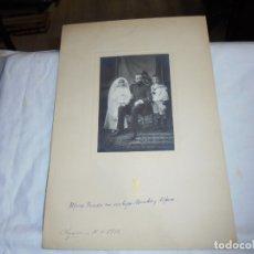 Fotografía antigua: FOTOGRAFIA DE ALFONSO PRENDES Y SUS HIJOS MERCEDES PRENDES Y ALFONSO.FOTOGRAFO UNTURBE SEGOVIA 1912. Lote 173472549