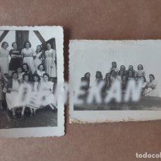 Fotografía antigua: LOTE 2 FOTOGRAFÍAS GRUPO DE AMIGAS. FOTO-ASTURIAS NAVIA. COAÑA. 1950. TROQUELADAS. DEDICADAS.. Lote 175630942
