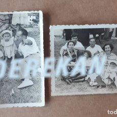 Fotografía antigua: LOTE 2 FOTOGRAFÍAS FAMILIA. DÍA DE LA JIRA. FOTO LU-BER NAVIA. AÑOS 50. TROQUELADAS. DEDICADAS.. Lote 175631427