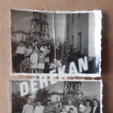 Fotografía antigua: LOTE 2 ANTIGUAS FOTOGRAFÍAS GRUPO FAMILIA. ASTURIAS. AÑOS 50 Ó 60. TROQUELADAS.. Lote 175684110