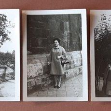 Fotografía antigua: LOTE 3 FOTOGRAFÍAS MUJER. PARQUE. ASTURIAS. MAYO 1967.. Lote 175692854