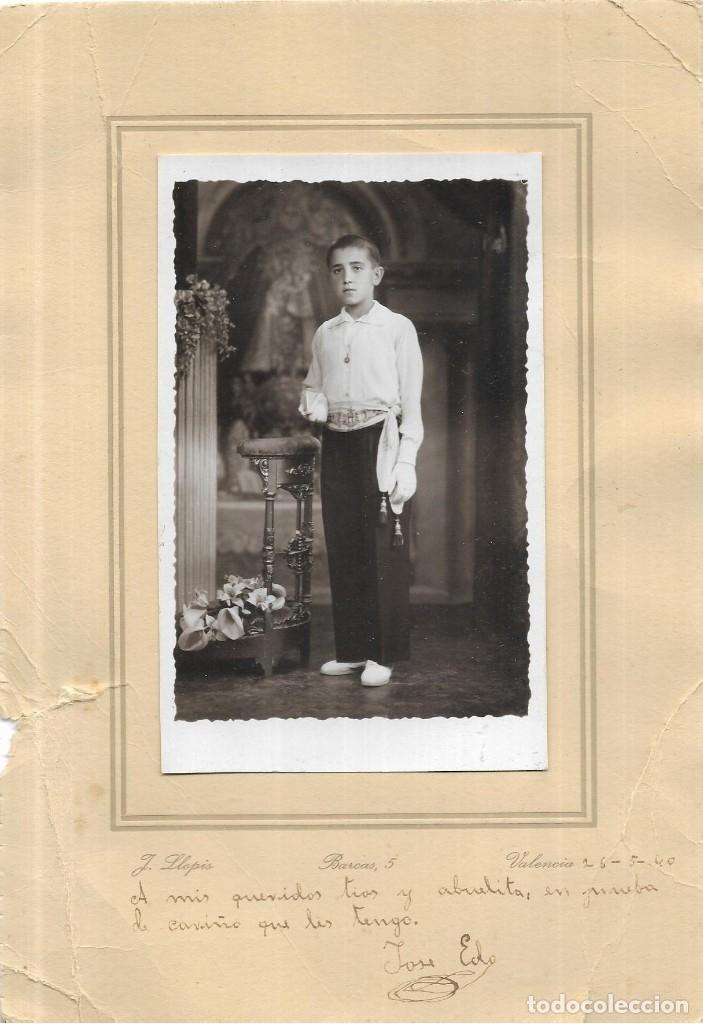 == W473 - FOTOGRAFIA - JOVENCITO DE PRIMERA COMUNION - FOTO J. LLOPIS - VALENCIA - 1940 (Fotografía - Artística)