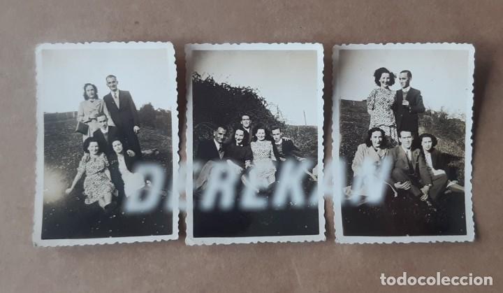 LOTE 3 ANTIGUAS FOTOGRAFÍAS GRUPO AMIGOS. ASTURIAS. 1943. TROQUELADAS. (Fotografía - Artística)