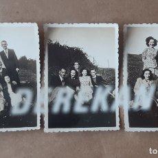 Fotografía antigua: LOTE 3 ANTIGUAS FOTOGRAFÍAS GRUPO AMIGOS. ASTURIAS. 1943. TROQUELADAS.. Lote 176354403