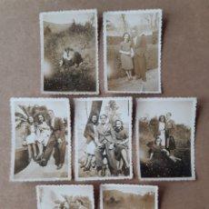 Fotografía antigua: LOTE 7 ANTIGUAS FOTOGRAFÍAS GRUPO PAREJAS AMIGOS. ASTURIAS. 1943. TROQUELADAS.. Lote 176355234