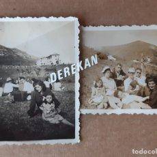Fotografía antigua: LOTE 2 ANTIGUAS FOTOGRAFÍAS GRUPO. ROMERÍA. ASTURIAS. 1944. TROQUELADAS.. Lote 176372135