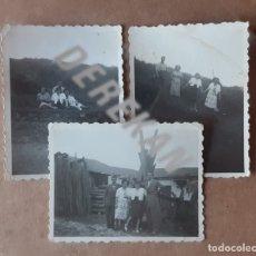 Fotografía antigua: LOTE 3 ANTIGUAS FOTOGRAFÍAS GRUPO. ASTURIAS. AÑOS 50. TROQUELADAS.. Lote 176375550