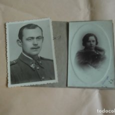 Fotografía antigua: 2 ANTIGUAS FOTOGRAFIAS MILITAR Y SEÑORA. Lote 176848467