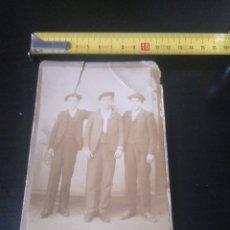 Photographie ancienne: RETRATO ANTIGUO 3 NIÑOS VASCOS BILBAO GÓMEZ. FINALES DEL XIX. Lote 177980923