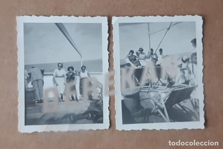 LOTE 2 FOTOGRAFÍAS CUBIERTA DE BARCO. AÑOS 50. VALENCIA. TROQUELADAS. (Fotografía - Artística)