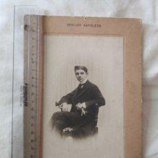Fotografía antigua: ANTIGUA FOTOGRAFÍA CHICO JOVEN DE GRAVURE NAPOLEÓN.. Lote 178348537