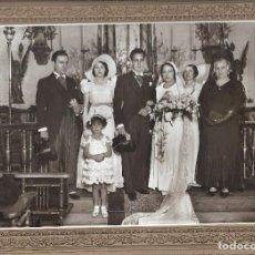 Fotografía antigua: J181- -EXTRAORDINARIA FOTOGRAFIA ANTIGUA DE UNA BODA FOTO -CARTAGENA -MONTERA,44 - MADRID. Lote 178431505