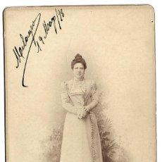 Fotografía antigua: R56- EXTRAORDINARIA FOTOGRAFIA ANTIGUA - UNA DAMA -FOTO -M.HURTA-PTA. SOL,3 -MADRID -DE 19 -5- 1898. Lote 179224071