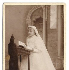 Fotografía antigua: R56- EXTRAORDINARIA FOTOGRAFIA ANTIGUA -NIÑA DE COMUNION- FOTO - A. GODARD - GRANVILLE. Lote 179236600
