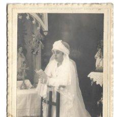 Fotografía antigua: R56- EXTRAORDINARIA FOTOGRAFIA ANTIGUA -NIÑA DE COMUNION- FOTO - E. QUIÑONES - BAÑOS,7 - LINARES. Lote 179236835