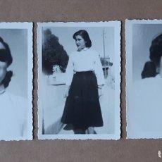 Fotografía antigua: LOTE 3 ANTIGUAS FOTOGRAFÍAS MUJER JOVEN. AÑOS 40. YECLA. MURCIA. TROQUELADAS.. Lote 179324850