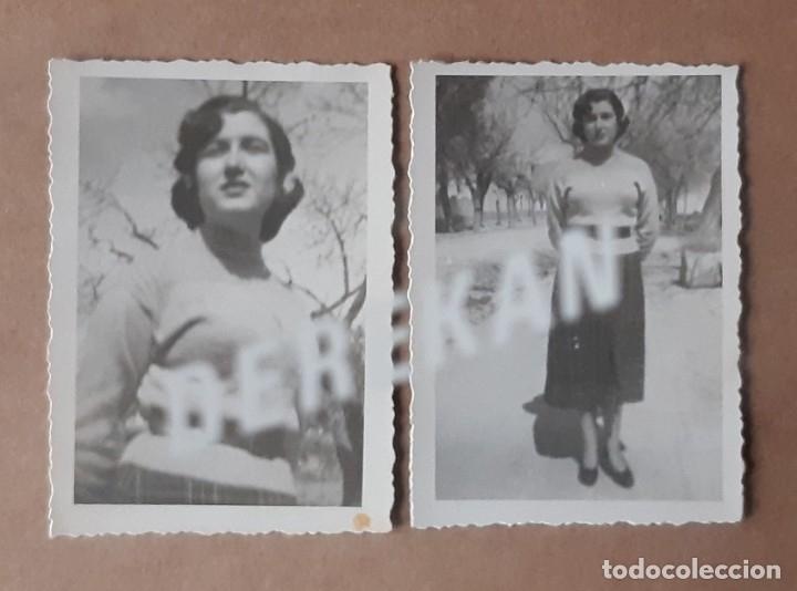 LOTE 2 ANTIGUAS FOTOGRAFÍAS MUJER JOVEN. AÑOS 40. YECLA. MURCIA. TROQUELADAS. (Fotografía - Artística)