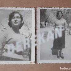 Fotografía antigua: LOTE 2 ANTIGUAS FOTOGRAFÍAS MUJER JOVEN. AÑOS 40. YECLA. MURCIA. TROQUELADAS.. Lote 179325098