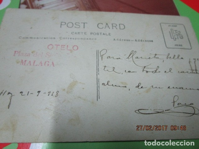 Fotografía antigua: FOTO ANTIGUA MALAGA SEÑOR MANUSCRITO EN REFESO Y FIRMA EN 1918 - Foto 2 - 180431816
