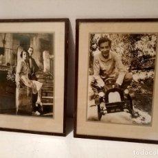 Fotografía antigua: DOS ANTIGUAS FOTOS ENMARCADAS CON SELLO ANTIGUO DE KODAK COCHE JUGUETE ANTIGUO. Lote 180971722