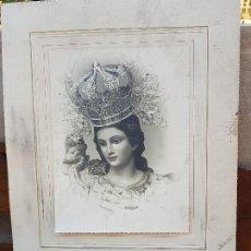 Fotografía antigua: ANTIGUA GRAN FOTOGRAFIA RELIGIOSA VIRGEN FOTO ROBERTO HELLIN ALBACETE 40 X 30. Lote 184239216