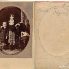 Fotografía antigua: FOTOGRAFÍA DE DOS HERMANOS, ALREDEDOR DE 1885.. Lote 184597956