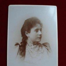 Fotografía antigua: FOTO CABINET RETRATO JOVEN1892.. Lote 185777935