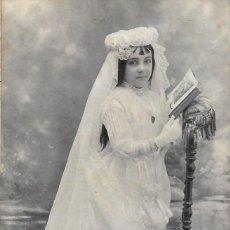 Fotografía antigua: FOTOGRAFÍA FRANCESA PRINCIPIOS DEL SIGLO XX NIÑA DE COMUNIÓN - FOTÓGRAFO PORTALIER - MONTPELLIER. Lote 187376368