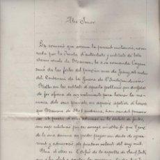 Fotografía antigua: BUEN DOCUMENTO CENTENARIO GUERRA INDEPENDENCIA 1908 - PETICION FIESTAS CORAL SANT JORDI MANRESA. Lote 193230645