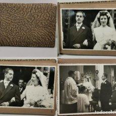 Fotografía antigua: ÁLBUM DE FOTOS - REPORTAJE BODA EN IGLESIA - FAMILIA RICA BARCELONA - 21 FOTOS - 23X15 CM / TC-4. Lote 194229578
