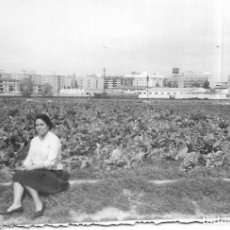Fotografía antigua: == GG116 - FOTOGRAFIA - MUJER JUNTO A UN CAMPO DE COLES. Lote 194294558