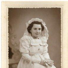 Fotografía antigua: FOTOGRAFÍA ANTIGUA DE UNA NIÑA DE COMUNIÓN - FOTÓGRAFO LÓPEZ EGEA - SUECA (VALENCIA). Lote 194619022
