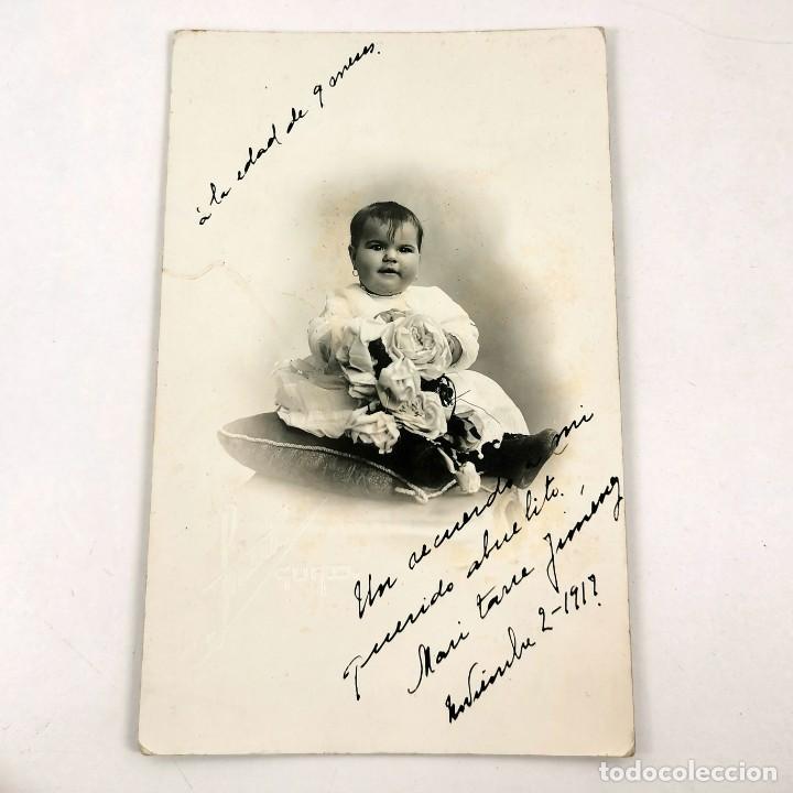 FOTOGRAFIA NIÑA PEQUEÑA ARTÍSTICA DE ESTUDIO - BARCELONA - 1917 - 13,5X8,5 CM / TC-6 (Fotografía - Artística)