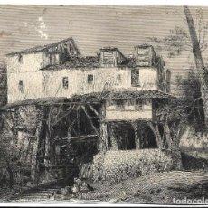 Fotografía antigua: EXTRAORDINARIA FOTOGRAFIA ANTIGUA- CASA CON UN MOLINO DE AGUA Y DAMA CON PATOS EN EL ARROYO. Lote 194752456