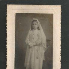Fotografía antigua: ANTIGUA FOTOGRAFIA NIÑA DE COMUNION FOTO SAENZ - INDEPENDENCIA 32 - VITORIA. Lote 194968163