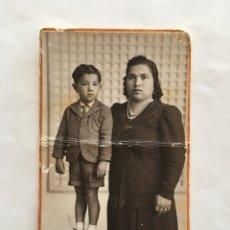 Fotografía antigua: FOTO. MADRE E HIJO. F. SANCHIS. VALENCIA. H. 1930?.. Lote 195372478