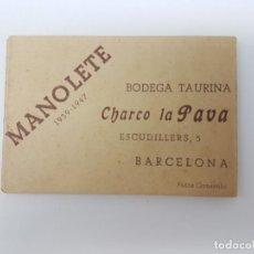 Fotografía antigua: FOTOGRAFIAS MANOLETE ( FOTO GONSANHI ) PUBLICIDAD BODEGA CHARCO LA PAVA, BARCELONA. Lote 195451096