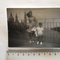 Fotografía antigua: FOTO. EN EL PUENTE SOBRE EL EBRO. ZARAGOZA. FOTÓGRAFO?.. Lote 195531748